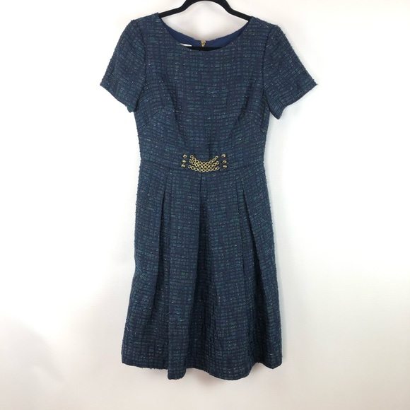 Kay Unger Dresses & Skirts - Kay Unger Blue Tweed Chain Dress Sz 4